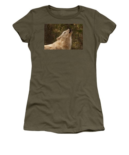 Women's T-Shirt (Athletic Fit) featuring the photograph Arctic Wolf Howling by Chris Flees
