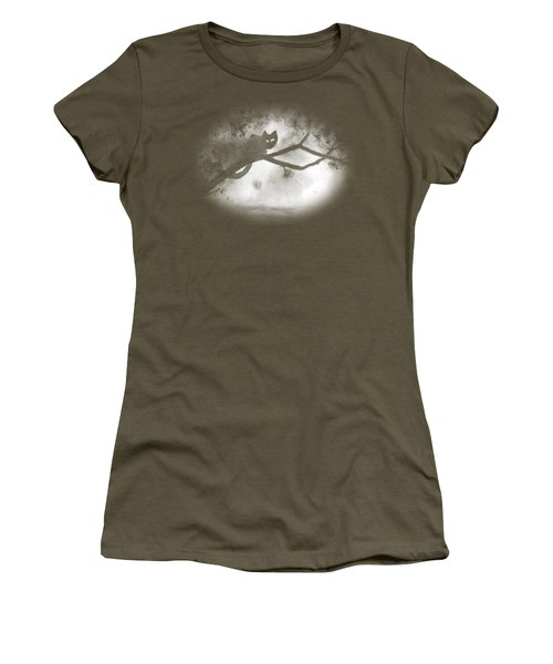 Women's T-Shirt (Junior Cut) featuring the painting Chat Dans L'arbre by Marc Philippe Joly