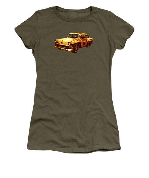 Roadrunner The Snake And The 56 Chevy Rat Rod Women's T-Shirt (Junior Cut) by Chas Sinklier