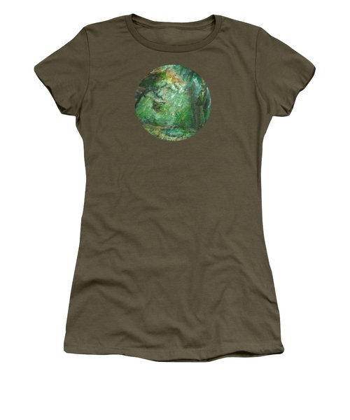 Women's T-Shirt (Junior Cut) featuring the painting Rainy Woods by Mary Wolf