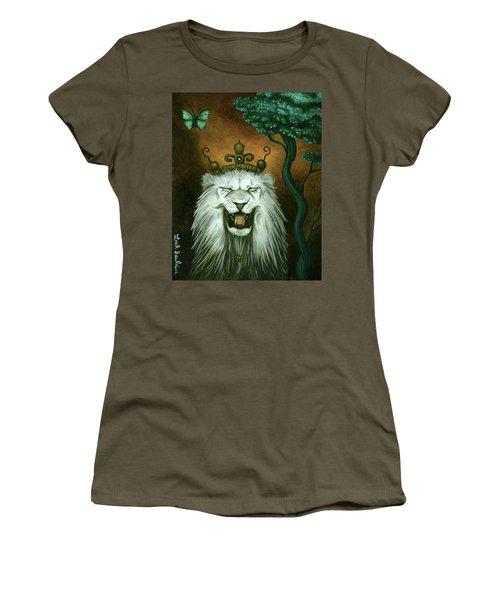 As The Lion Laughs Women's T-Shirt (Junior Cut) by Leah Saulnier The Painting Maniac