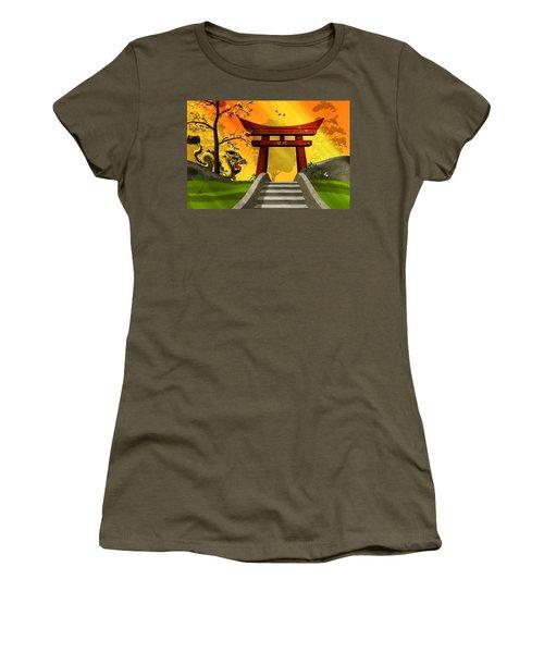 Asian Art Chinese Landscape  Women's T-Shirt (Athletic Fit)