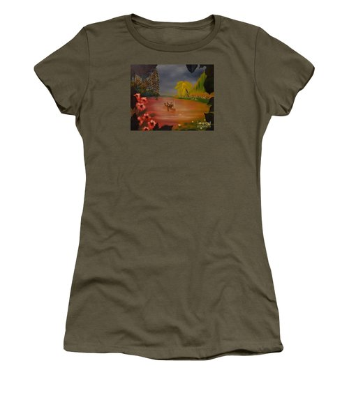 Women's T-Shirt (Junior Cut) featuring the painting Asian Lillies by Denise Tomasura