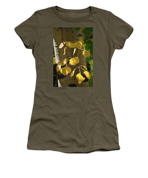 Women's T-Shirt (Junior Cut) featuring the photograph Aspen Closeup by Dana Sohr