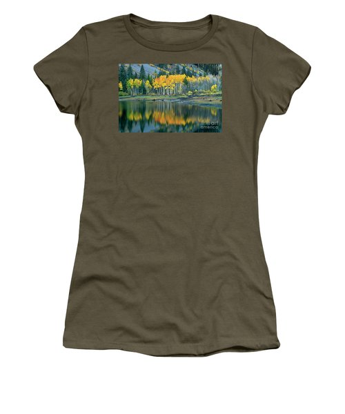 Aspens In Fall Color Along Lundy Lake Eastern Sierras California Women's T-Shirt (Junior Cut) by Dave Welling