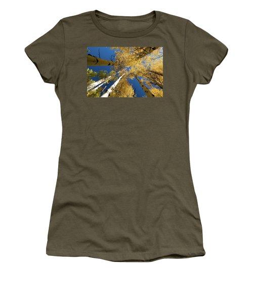 Women's T-Shirt (Junior Cut) featuring the photograph Aspens Up by Steve Stuller