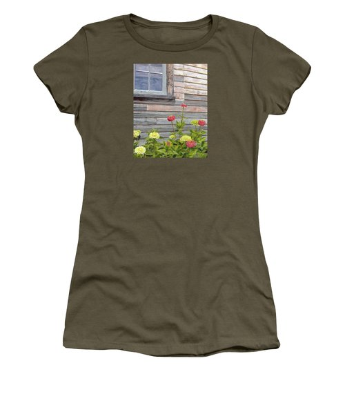 Women's T-Shirt (Athletic Fit) featuring the painting At The Shelburne by Lynne Reichhart