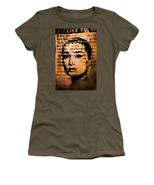 Women's T-Shirt (Junior Cut) featuring the mixed media Audrey Hepburn #4 by Kim Gauge