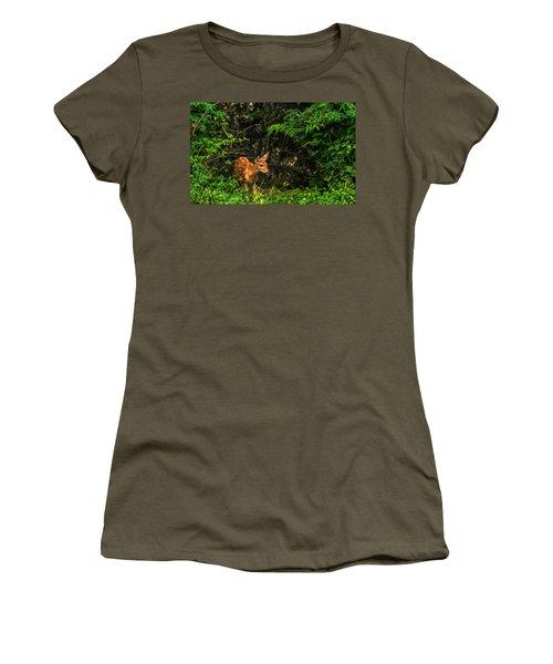 Women's T-Shirt (Junior Cut) featuring the photograph August Fawn by Trey Foerster