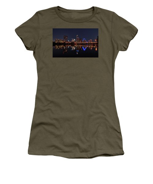 Austin Skyline At Night Women's T-Shirt (Junior Cut) by Todd Aaron