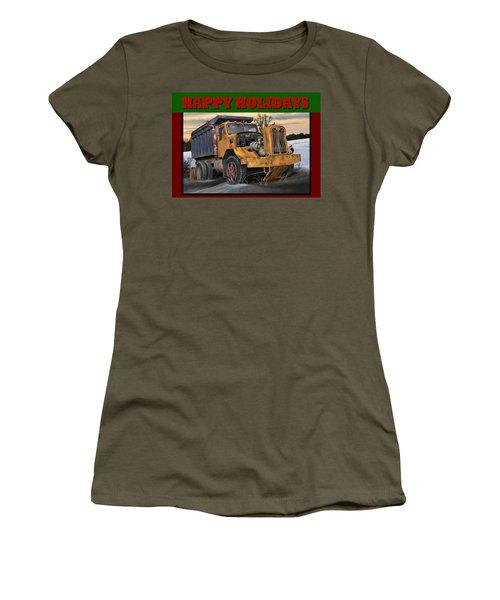 Women's T-Shirt (Junior Cut) featuring the digital art Autocar Happy Holidays by Stuart Swartz
