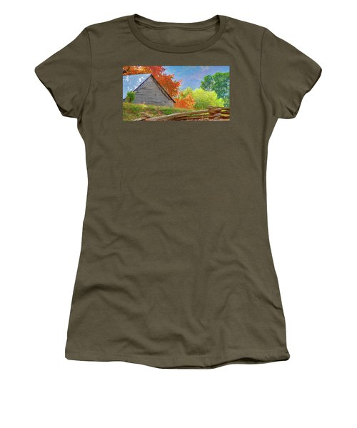 Autumn Barn Digital Watercolor Women's T-Shirt (Athletic Fit)