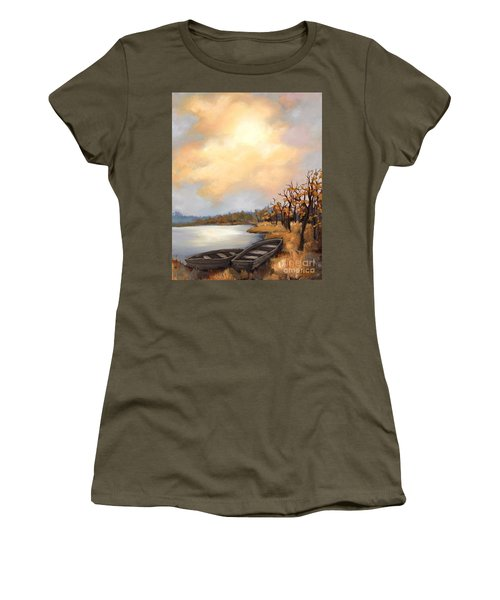 Women's T-Shirt (Junior Cut) featuring the painting Autumn Boats by Inese Poga