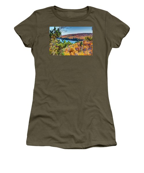 Autumn Colors Overlooking Lax Lake Tettegouche State Park II Women's T-Shirt (Athletic Fit)
