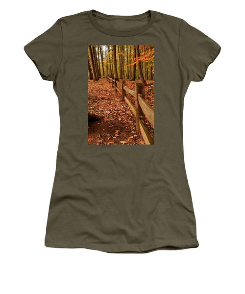 Women's T-Shirt featuring the photograph Autumn Fence by Angie Tirado