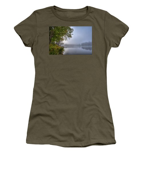 Women's T-Shirt (Athletic Fit) featuring the photograph Autumn Fog On West Lake by David Patterson