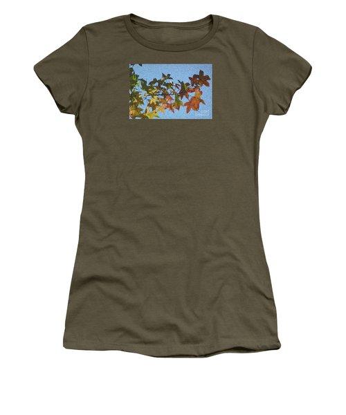 Women's T-Shirt (Junior Cut) featuring the photograph Autumn Leaves 3 by Jean Bernard Roussilhe