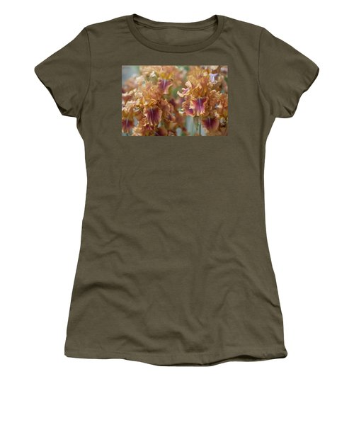 Autumn Leaves Irises In Garden Women's T-Shirt