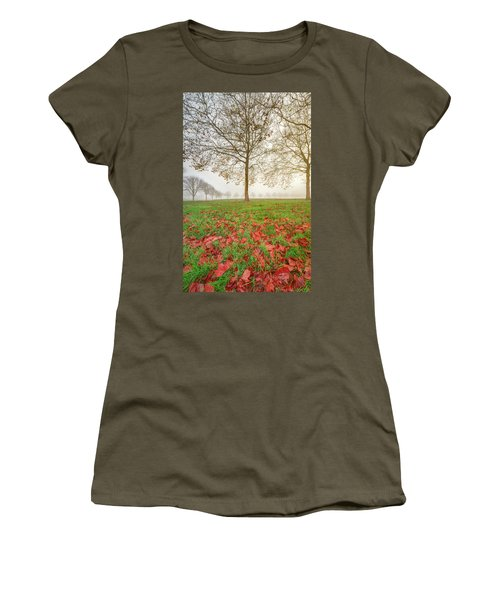 Women's T-Shirt (Athletic Fit) featuring the photograph Autumn Leaves Near To Far Super High Resolution by William Lee