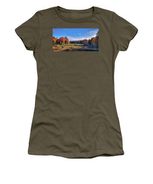 Women's T-Shirt (Junior Cut) featuring the photograph Autumn Panorama At The Green Bridge by David Patterson