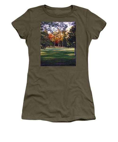 Women's T-Shirt featuring the digital art Autumn Park by Deleas Kilgore