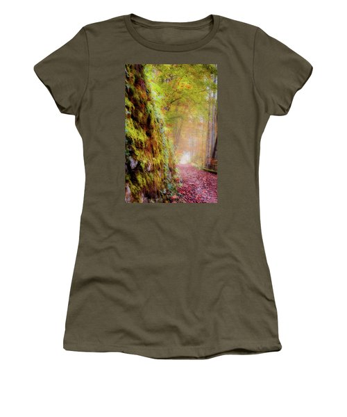 Women's T-Shirt (Athletic Fit) featuring the photograph Autumn Path by Geoff Smith