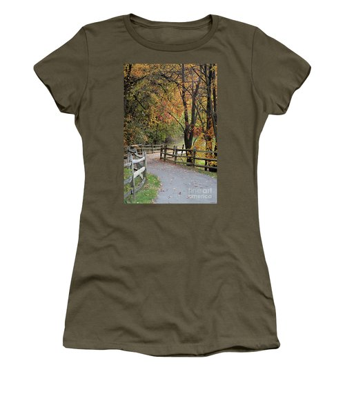 Autumn Path In Park In Maryland Women's T-Shirt