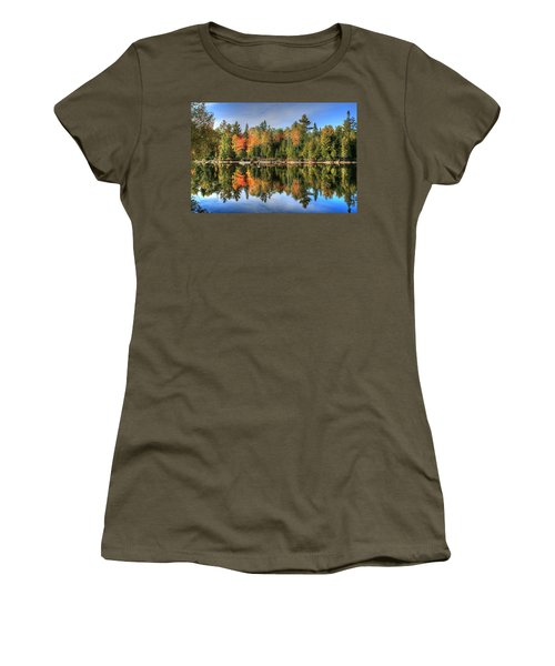 Women's T-Shirt (Junior Cut) featuring the photograph Autumn Reflections Of Maine by Shelley Neff