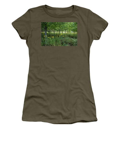 Women's T-Shirt (Athletic Fit) featuring the photograph Autumn Serenity by Lon Dittrick