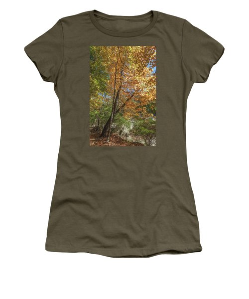 Women's T-Shirt (Athletic Fit) featuring the photograph Autumn Show On The River by Lon Dittrick