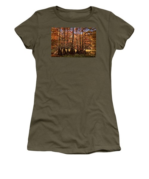 Women's T-Shirt (Junior Cut) featuring the photograph Autumn Splendor At Lake Murray by Tamyra Ayles