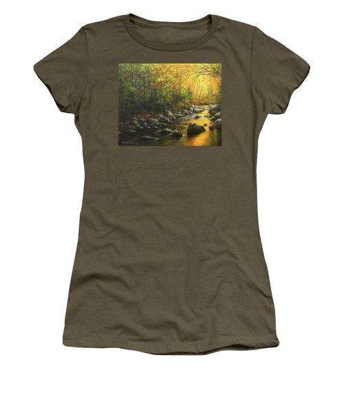 Autumn Stream Women's T-Shirt (Junior Cut) by Kim Lockman