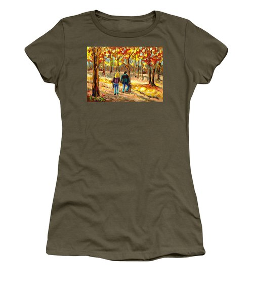 Autumn  Stroll On Mount Royal Women's T-Shirt (Athletic Fit)