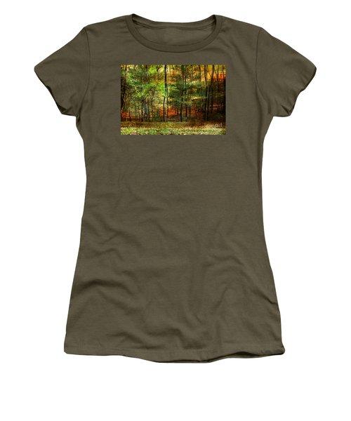 Autumn Sunset - In The Woods Women's T-Shirt (Junior Cut) by Judy Palkimas