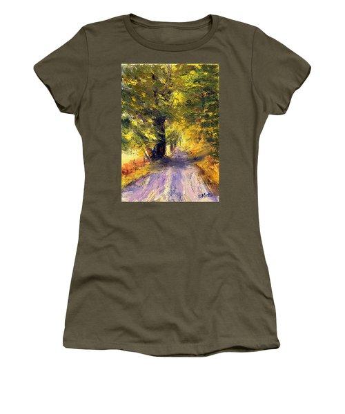 Autumn Walk Women's T-Shirt (Junior Cut) by Gail Kirtz