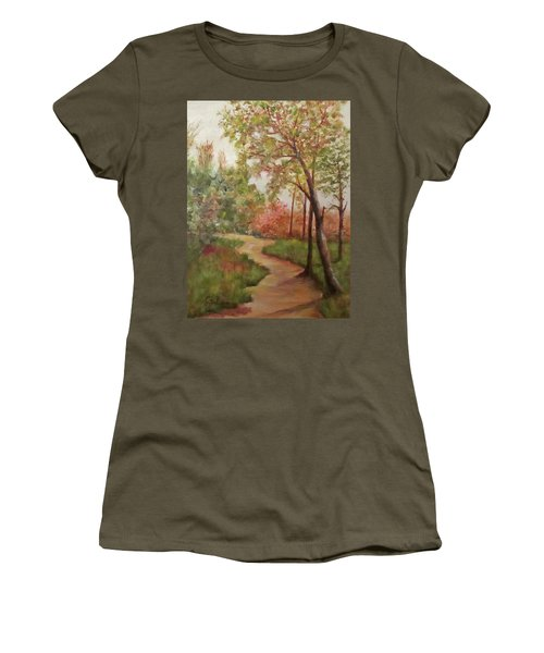 Autumn Walk Women's T-Shirt (Junior Cut) by Roseann Gilmore