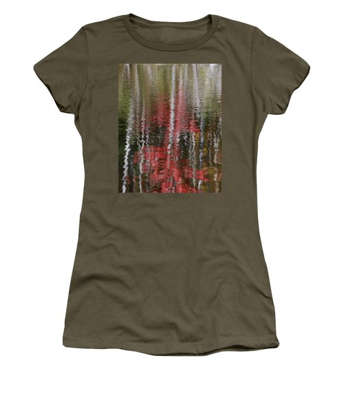 Women's T-Shirt (Junior Cut) featuring the photograph Autumn Water Color by Susan Capuano