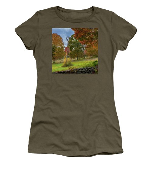 Women's T-Shirt (Junior Cut) featuring the photograph Autumn Windmill Square by Bill Wakeley