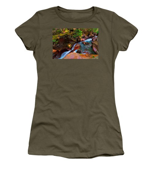 Women's T-Shirt (Junior Cut) featuring the photograph Avalanche Creek by Greg Norrell
