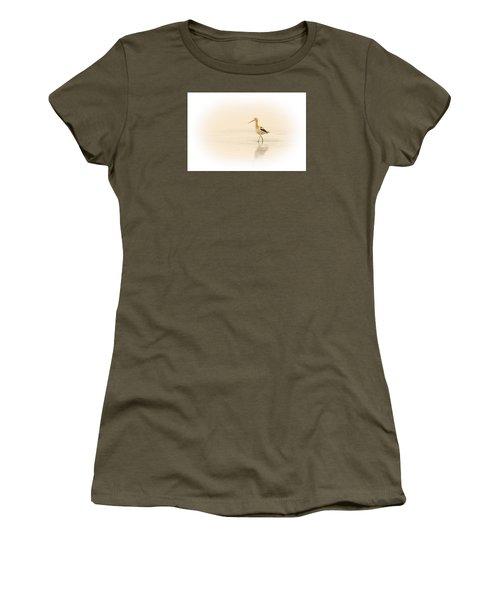 Women's T-Shirt (Junior Cut) featuring the photograph Avocet Walk by Yeates Photography