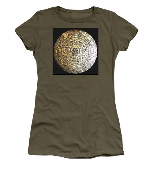 Women's T-Shirt featuring the drawing Aztec Calendar by Michelle Dallocchio