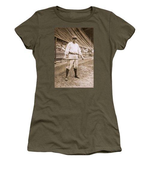 Babe Ruth On Deck Women's T-Shirt (Junior Cut) by Jon Neidert