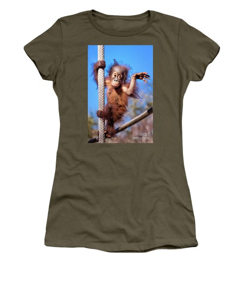 Baby Orangutan Climbing Women's T-Shirt (Athletic Fit)