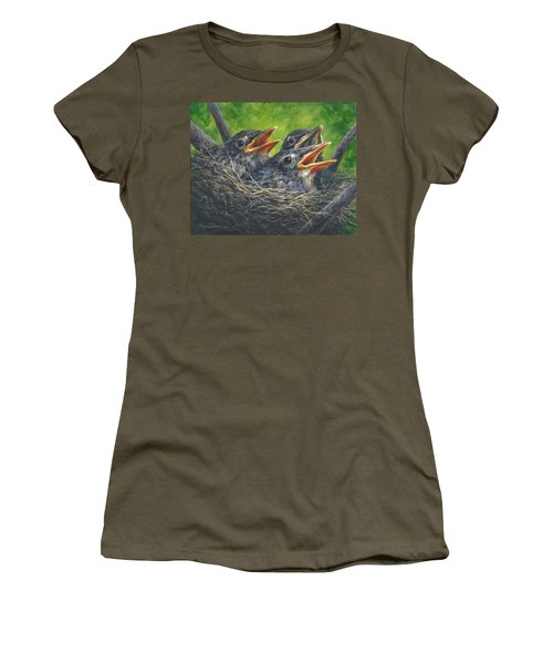 Women's T-Shirt (Junior Cut) featuring the painting Baby Robins by Kim Lockman
