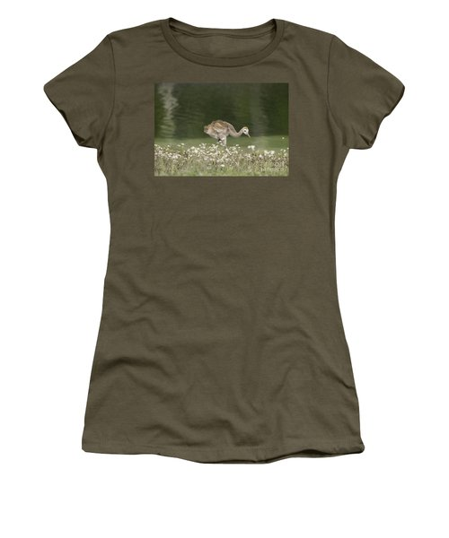 Baby Sandhill Crane Walking Through Wildflowers Women's T-Shirt (Athletic Fit)
