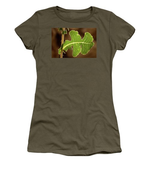 Back Side Light On A Leaf At Sunset Women's T-Shirt (Junior Cut) by Yoel Koskas