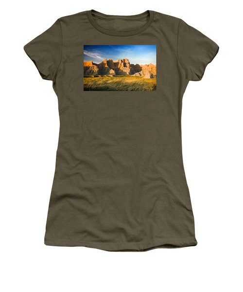 Women's T-Shirt (Athletic Fit) featuring the photograph Badlands In Late Afternoon by Rikk Flohr