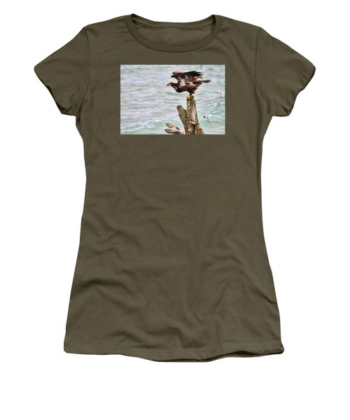 Bald Eagle On Driftwood At The Beach Women's T-Shirt (Junior Cut) by Peggy Collins