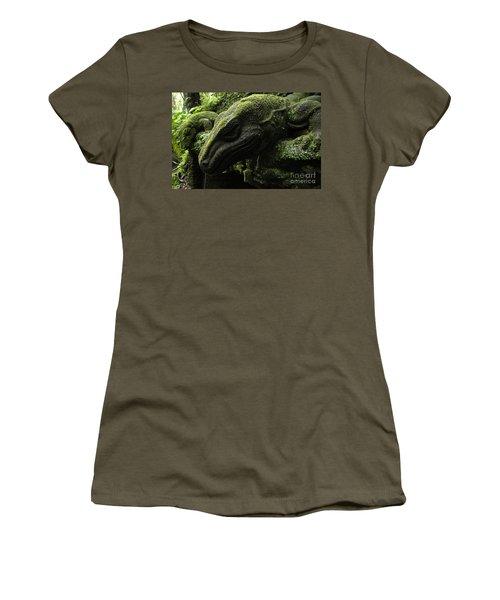 Bali Indonesia Lizard Sculpture Women's T-Shirt (Junior Cut) by Bob Christopher