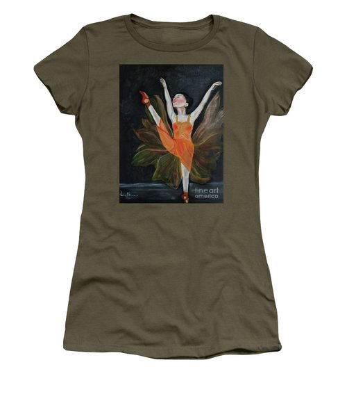 Women's T-Shirt (Junior Cut) featuring the painting Ballet Dancer 1 by Brindha Naveen